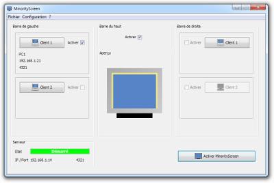 MinorityScreen - Configuration des clients favoris