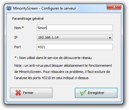 MinorityScreen - Configuration d'un serveur