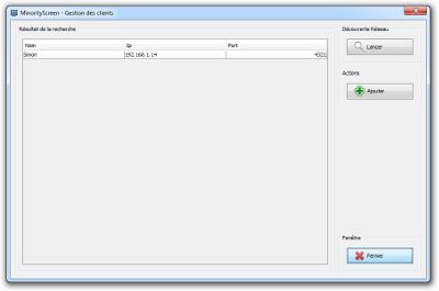 MinorityScreen - Découverte réseau