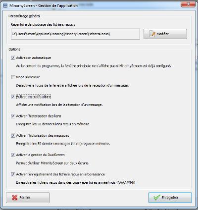 MinorityScreen - Options