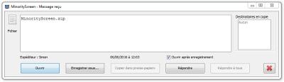 MinorityScreen - Fichier reçu